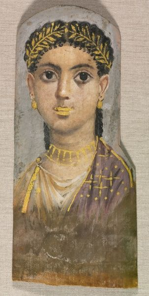 Funerary Portrait of Young Girl  c.25-37 AD Roman Egypt (late Tiberian) Traditional Egyptian burial practices continued well into Roman time...
