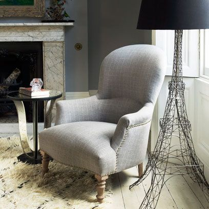 Grey check upholstered armchair Graham and Green
