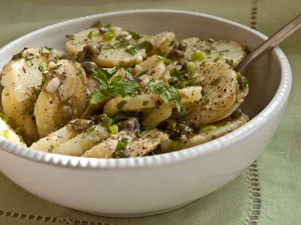 Warm Potato Salad with capers, scallions and mint: Side Dishes, Patricia Well, Dinners Recipes, Hot Food, Warm Potatoes Salad, Well Warm, Serious Salad, Mint Recipes, Serious Eating