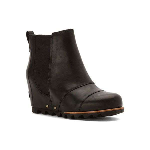SOREL Lea Wedge Boots ($200) ❤ liked on Polyvore featuring shoes, boots, black, men, arch support shoes, black wedge shoes, black wedge heel boots, wedge shoes and sorel footwear