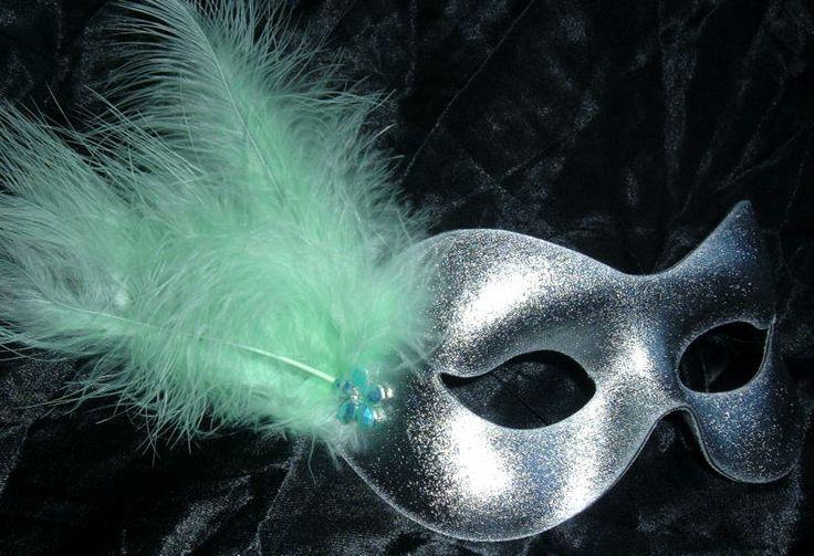 mintgreen | Silver & mint green flower masquerade mask