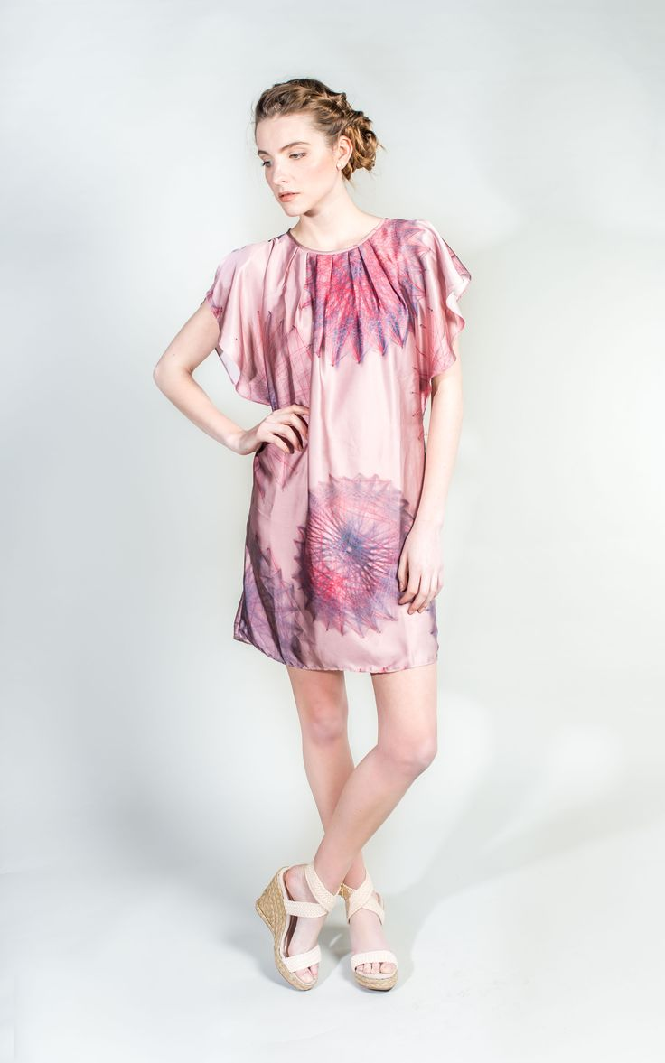 Dusky Pink Dress with Flutter Sleeves   #Party #Dress #WantHerDress