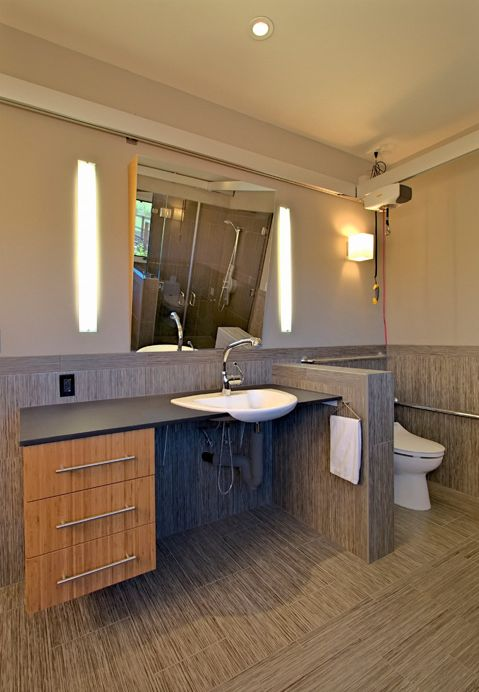 accessible design with roll under wall mounted bathroom vanity