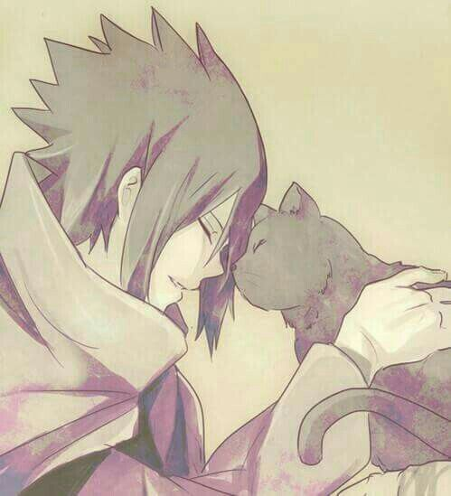 Uchiha Sasuke, cute, neko, cat; Naruto