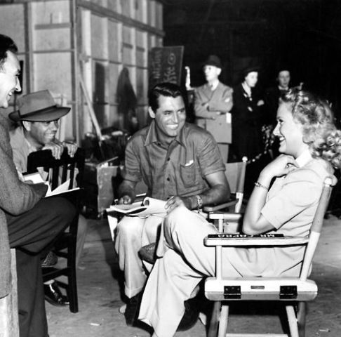 Frank Capra, Cary Grant and Priscilla Lane on the set of 'Arsenic And Old Lace'