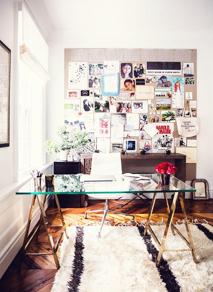 glass desk and moodboard