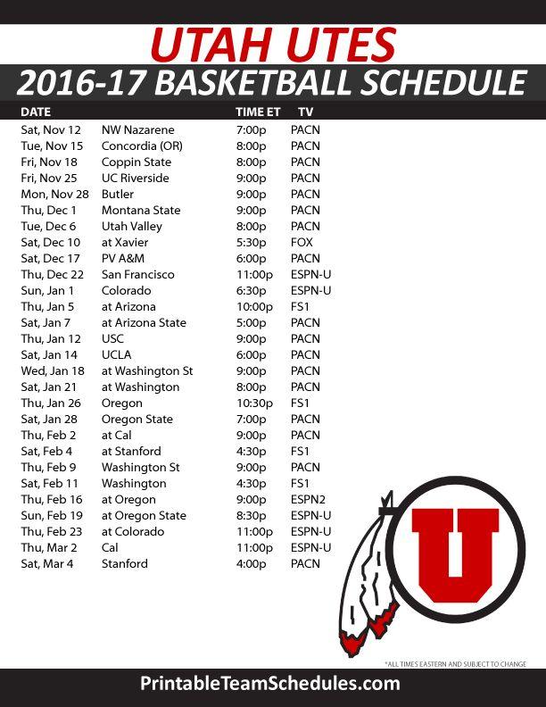 Utah Utes Basketball Schedule 2016-17.  Print Here - http://printableteamschedules.com/NCAA/utahutesbasketball.php