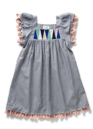 Girls Dresses & Tunics | Pinstripe Tassel Dress | Seed Heritage