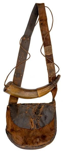 Leather Gamecock Hunting Bag and Powder Horn