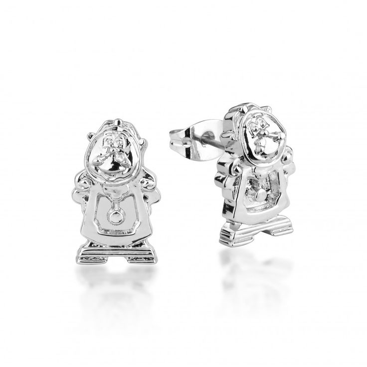Disney Couture Beauty & the Beast White Gold-Plated Cogsworth Clock Stud Earrings