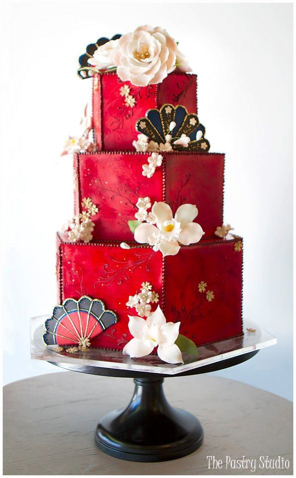 Hexagon Oriental Cake Design by The Pastry Studio