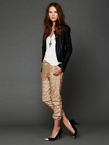 ELASTIC WAIST and GOLD SEQUINS combine into the pants of my DREAMS. i dont care how ridiculous these are.