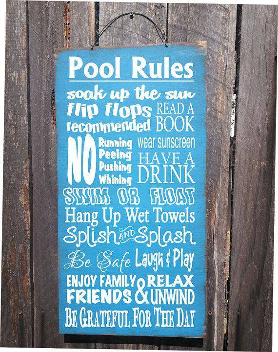 Personalized Pool Rules sign  pool decor by FarmhouseChicSigns, $44.95