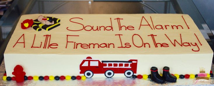(231) Fireman Theme Baby Shower Cake
