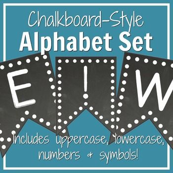 Polka dot and chalkboard alphabet banner set: Includes uppercase letters, lowercase letters, numbers, and symbols!