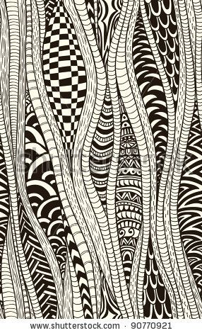 Fantasy ethnic seamless pattern. Hand drawn. Artistic. by hoverfly, via ShutterStock