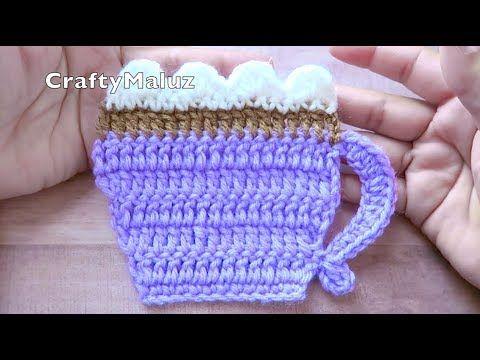 CROCHET TUTORIAL ♥ TAZA A CROCHET PASO A PASO | Taza porta vasos a crochet muy…