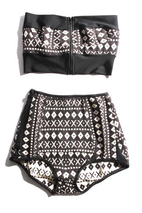 Tribal black & white vintage bikini #highwaisted