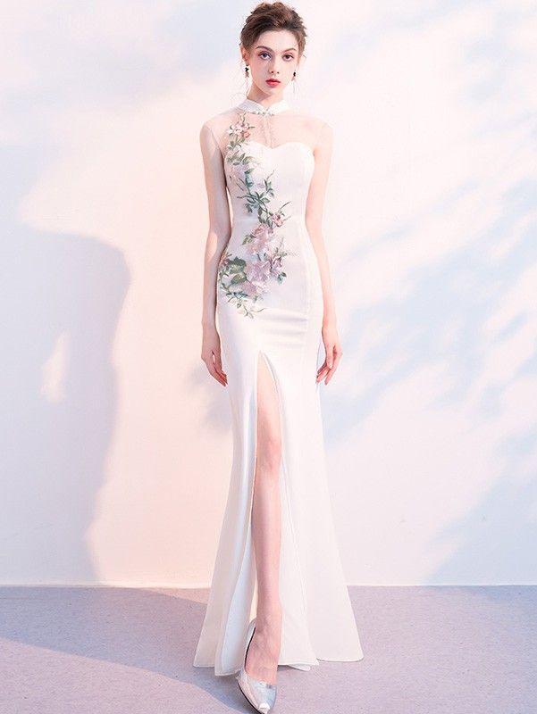 bdb3dfb51a2 White Embroidered Split Qipao   Cheongsam Wedding Dress - CozyLadyWear