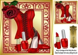Pretty red corset  red rose  in ornate 8x8 frame on Craftsuprint - View Now!