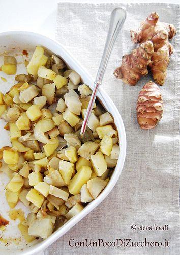 Teglia topinambur: http://conunpocodizucchero.wordpress.com/2014/01/18/scaloppine-al-vino-rosso-e-verdure-al-forno/