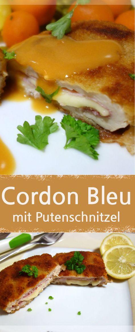 Rezept für Cordon Bleu mit zartem Putenfleisch, eine alternative zu Rind und Schwein. Als Beilage eignen sich Kartoffeln, Knödeln und alle mögliches Gemüse. Diese gefüllten Schnitzel sind recht einfach zu panieren– Meine Stube #cordonbleu #putenschnitzel