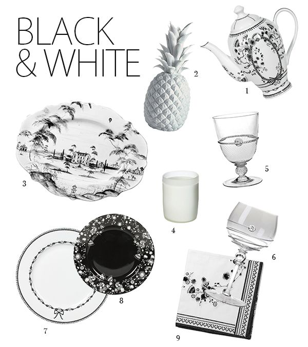 New Tabletop on NewlyWish from Juliska and Miss Blackbirdy inspired by a black and white themed wedding... porcelain pineapple and all!