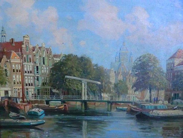 Pieter Johannes Alexander Wagenmans (1879-1955),  Amsterdam, Magere brug - olie op doek
