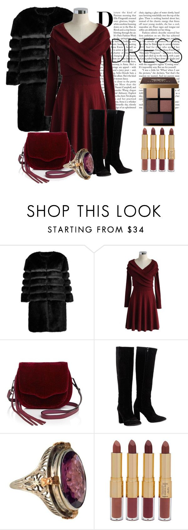 """""""Winter Dress"""" by janie-xox ❤ liked on Polyvore featuring AINEA, Chicwish, Rebecca Minkoff, Chloé, tarte, Bobbi Brown Cosmetics and under100"""