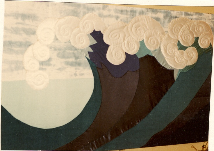 Wave embroidery 2 metres by 1 metre. 1980. ripped off me by Clive Evert of Hogarth galleries Paddington!