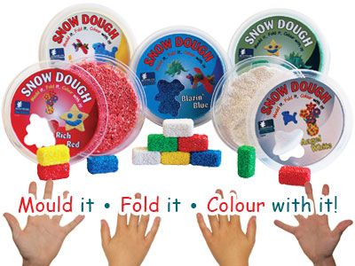 Snow Dough: amazing moulding mixture,creates hours of fun List you name & tag a friend & you could each win a set of 5 Snow Doughs (Red,Blue,Green,White,Yellow 250ml each). Read my mommy blog at http://www.acornkids.com/blog.aspx  Get your 10% discount; click here now! http://goo.gl/kUN4yF