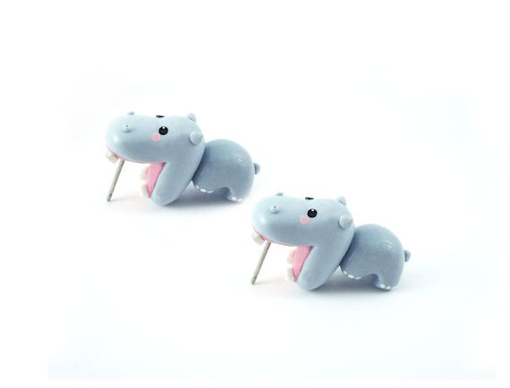 Cute hippo bite earring polymer clay animal por tinyclaymade