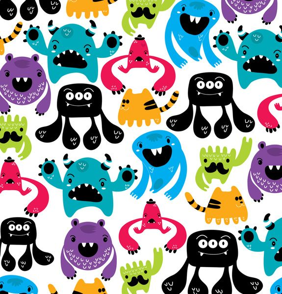 "Monster pattern by Maria Jose Da Luz  ART PRINT / MINI (8"" X 8"") $15.00"