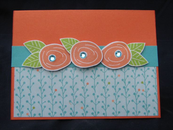 Gift card holder CTMH Blossom paper pack, Sunset, Lagoon & Pear inks, & Have a Happy Day Stamp set, Inside of card has 5cm pocket to hold gift cards