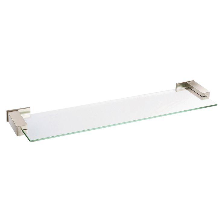 "Danze Sirius Collection Ultra Modern 24"" Brushed Nickel Tempered Glass Shelf"