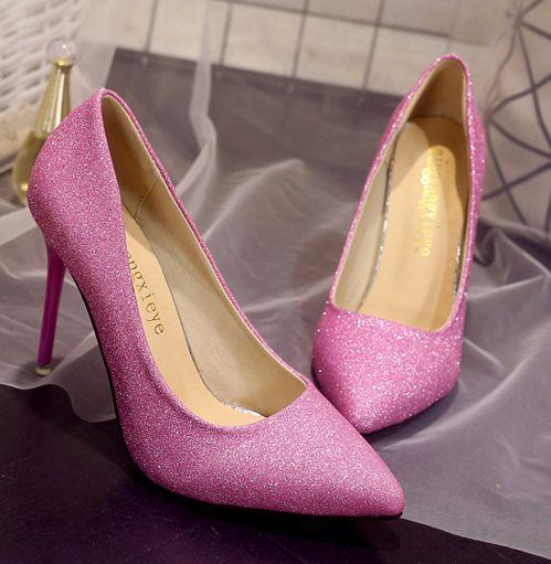 10 CM bombas dos saltos altos finos sapatos mulher sexy apontou dedos bombas de festas de casamento de prata de ouro rosa sapatos TG1536 em vendas