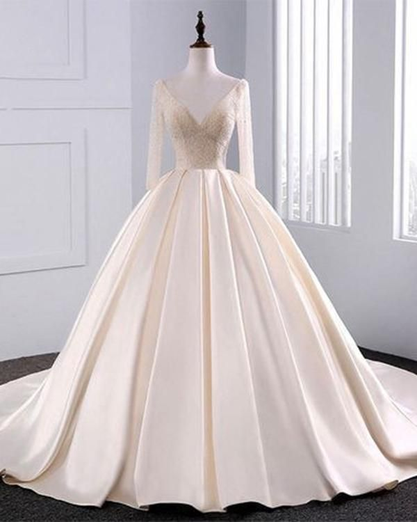 2018 Fashion Simple Beige Wedding Dresses Full Sleeve Modest Lace Satin Bridal  Gowns for Wedding 9f81fac4f45f