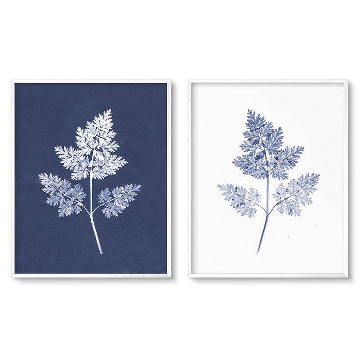 modern botanical print set of two blue fern art printables