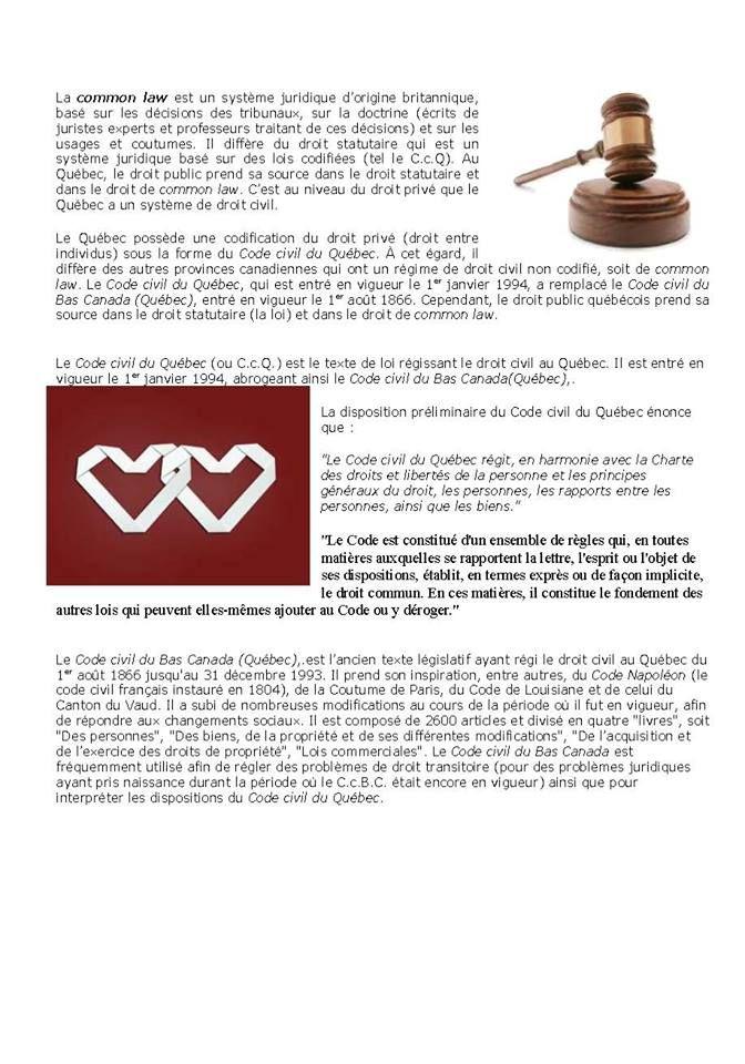 Différence entre Common law et code civil du Qc