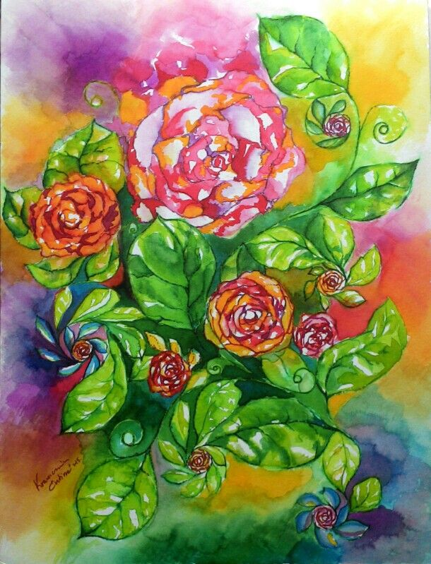 My roses, 2015. (A3, liquid watercolor, felt pen, pencil, watercolor paper)