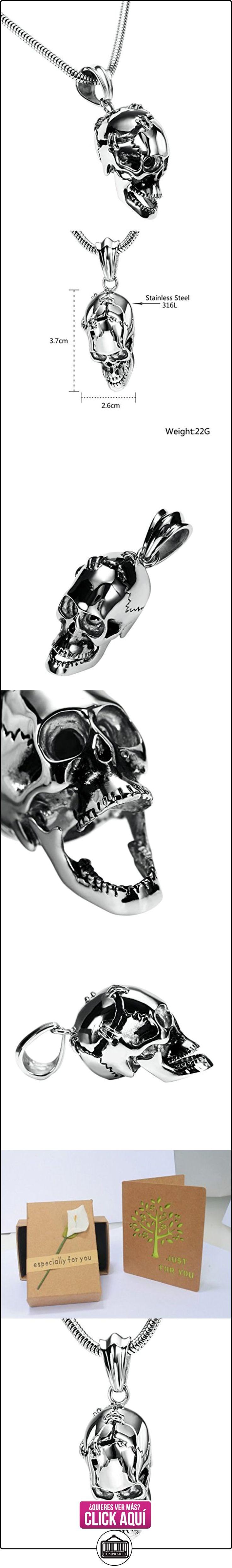 Daesar Joyería Collares de Hombre Acero Inoxidable Gótico Cráneo Calavera Plata Colgantes Vintage 2.6X3.7cm  ✿ Joyas para niños - Regalos ✿ ▬► Ver oferta: https://comprar.io/goto/B01N53GA4D