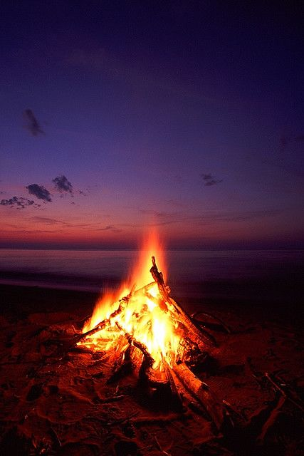 Perfect beach bonfire - warming up next to the fire, recanting tales of the deep.