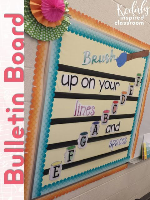 """Elementary Music Room Bulletin Board to reinforce treble note names: """"Brush Up on Your Lines and Spaces"""""""