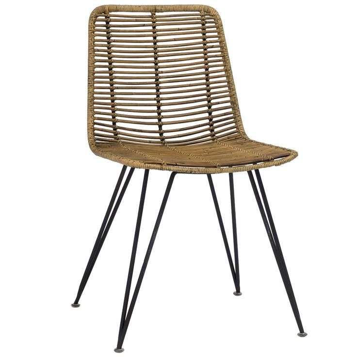 """Natural-meets-modern defines the style of Palecek's Hermosa side chair. Topped with a rattan-wrapped seat, a sleek black frame features open triangular legs for geometric appeal. The armless silhouette proves both casual and refined, accenting decor with versatile ease. Minimum purchase of 2; Natural rattan peel, metal; Available only as shown; 20.25""""W x 23.25""""D x 33.25""""H; Seat: 18.25""""H"""