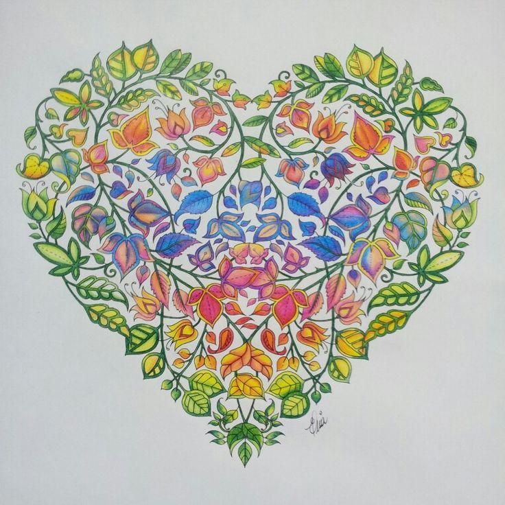 Heart by Johanna Basford  Secret Garden Jardim Secreto - coração colorido por mim com lápis Faber Castell