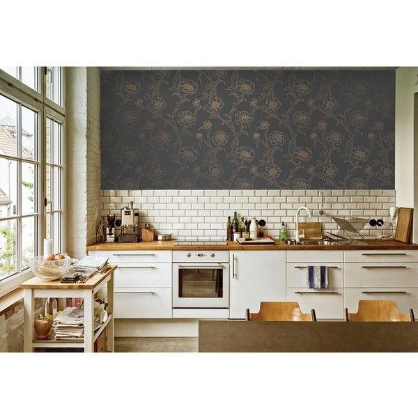 PEONIES Noir   TEMPAPER CLASSIC   SHOP   Tempaper Designs (135 CAD) ❤ Liked