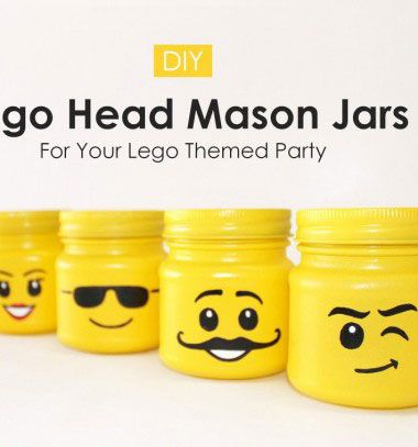 DIY Lego head mason jars // Legó figura fejes tárolók befőttes üvegekből // Mindy - craft tutorial collection // #crafts #DIY #craftTutorial #tutorial #LegoBuilding #LegoCrafts #DIYLego