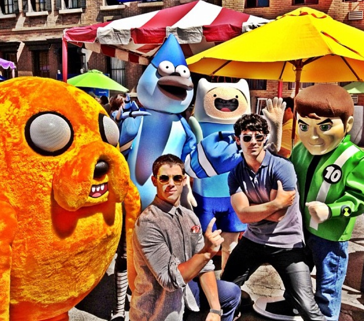 Joe And Nick Jonas Chill With The (Plush) Cast Of Adventure Time!