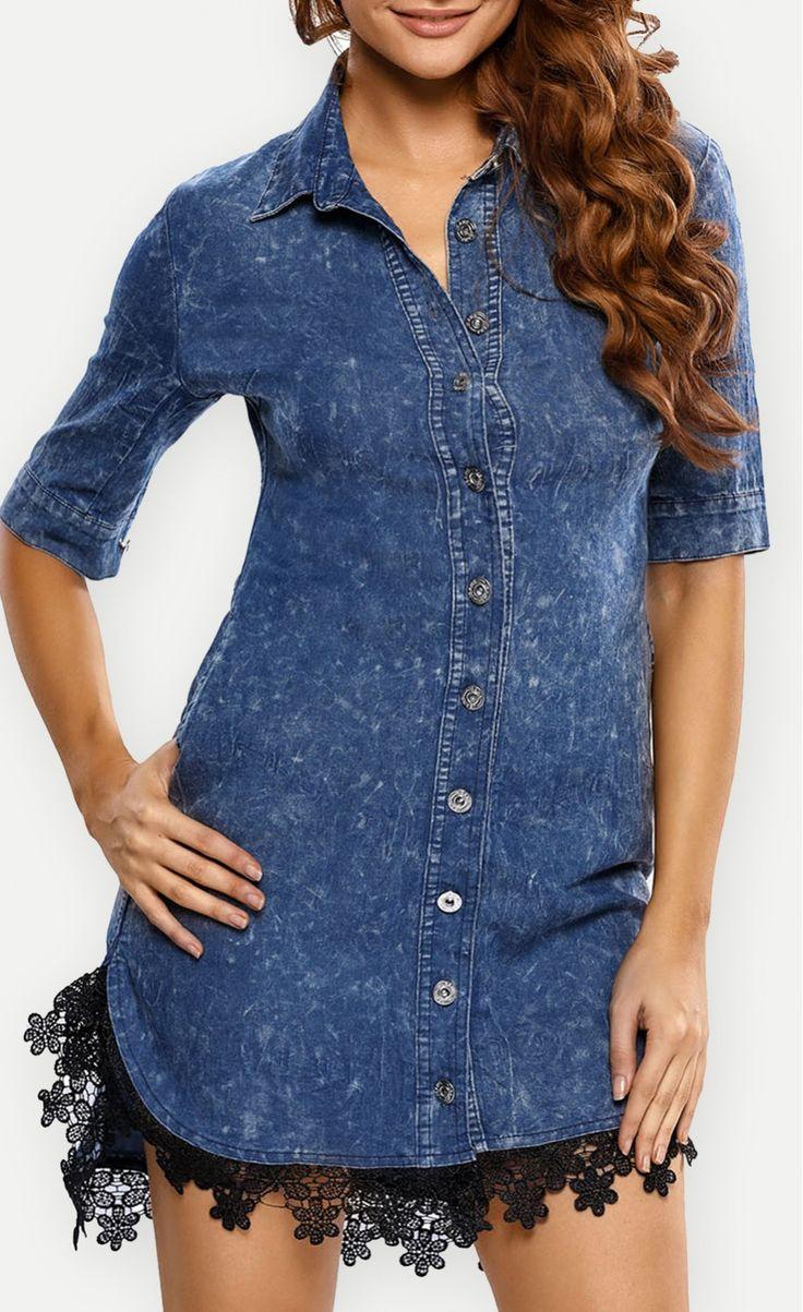 Lace Trim Button Down Denim Shirt Dress