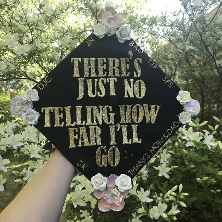 Grad Cap #graduation #DIY #Disney #Moana #flowers #determined #believe #motivated